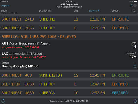 FlightBoard – Live Flight Departure and Arrival Status screenshot