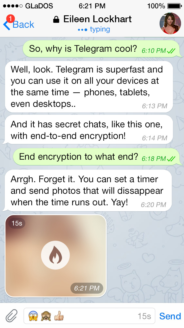 Screenshots of Telegram for iPhone