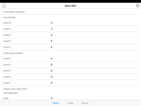 iRVU: Clinic - Medical productivity tracking app iPad Screenshot 1
