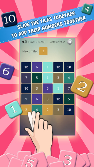 Perfect 10s - Slide the Tiles to Make 10 Math Logic Puzzle Game
