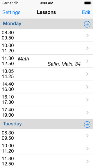 Lessons Schedule
