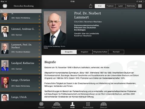 Deutscher Bundestag iPad Screenshot 2
