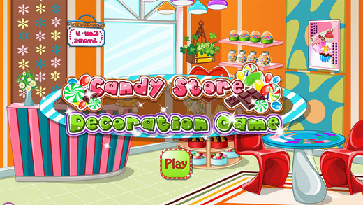 Candy store decoration game - Decor a beautiful candy store with this decoration game.