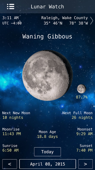 Lunar Watch Full moon phase calendar