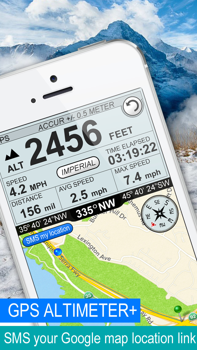 Altimeter GPS plus (Compass Speedometer & Location Tracking) screenshot 1