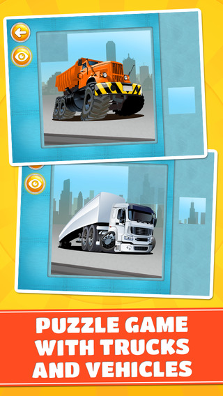 Trucks and Vehicles Puzzles - Logic Game for Toddlers Preschool Kids and Little Boys - Free