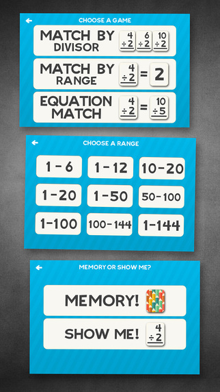 Division Flashcard Match Games for Kids in 2nd, 3rd and 4th Grade Screenshots