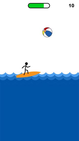 Stickman Surfer ~ Falling Beach Balls in the Circle Surfer Beware