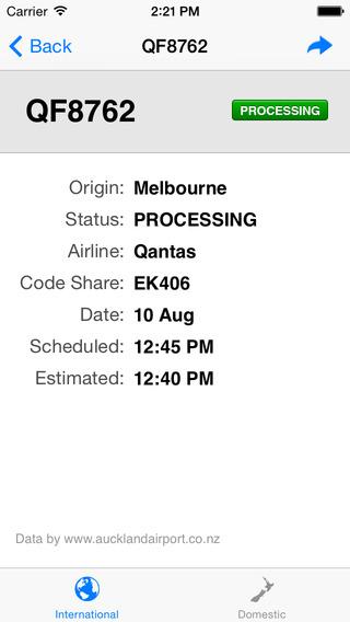 Auckland Airport Flight Information iPhone Screenshot 2