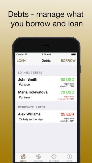 Debts - keep your debts in one app manage what you borrow and loan PRO