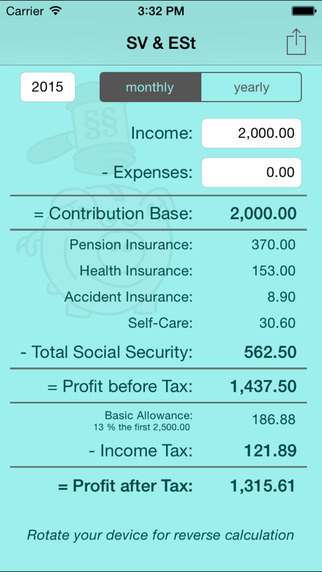玩免費財經APP|下載SV & ESt - social security (SVA) and income tax calculator for self-employed people in Austria app不用錢|硬是要APP