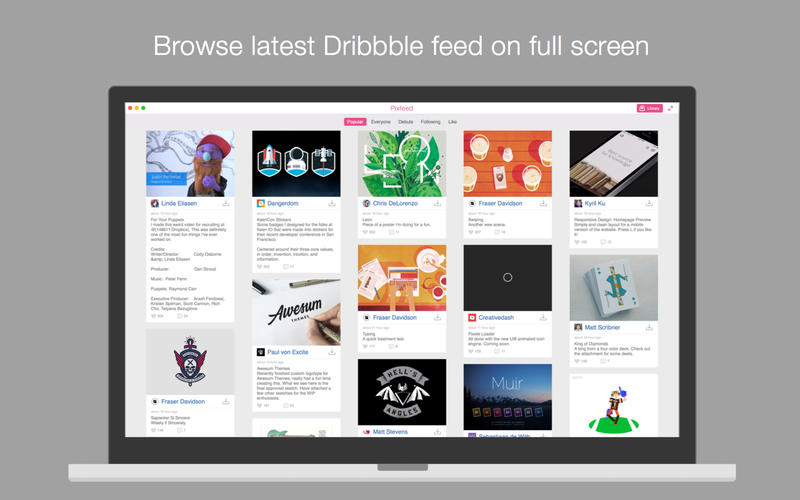 Pixfeed for Dribbble Screenshot