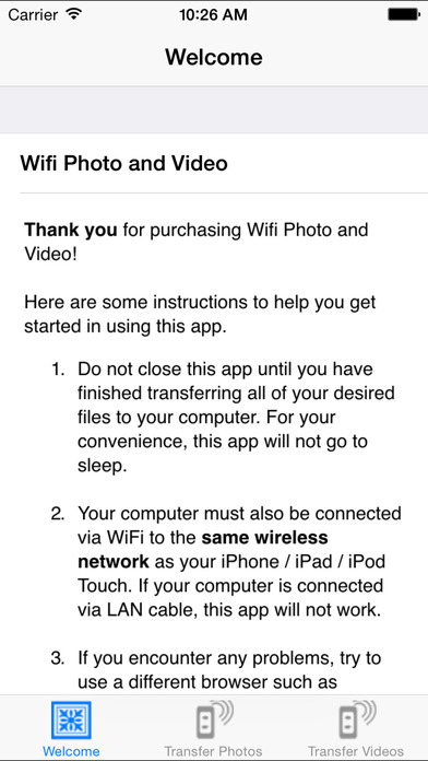 WiFi Photo & Video iPhone Screenshot 1