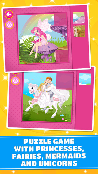 Princesses and Fairies Puzzle - logic game for toddlers preschool kids and little girls - Free