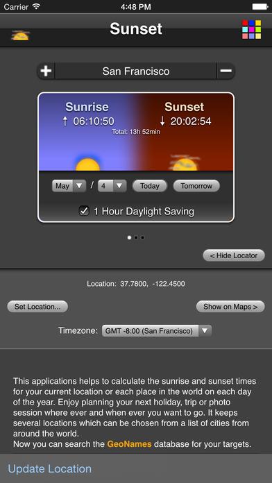 Sunset iPhone Screenshot 1