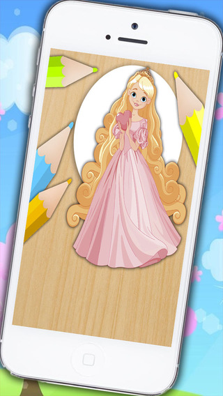 Paint and color Rapunzel - Educational game for gi