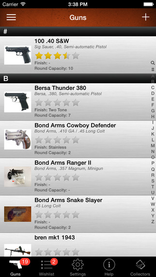 Gun Firearm and Ammo Collector Inventory and Database Manager for hunters hunter hunting and handgun