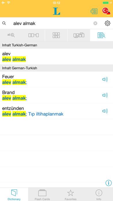 Turkish <-> German Dictionary Langenscheidt Basic iPhone Screenshot 2