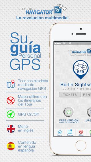 Berlín visita guiada en bicicleta: Guía multimedia GPS mapa Offline - HD