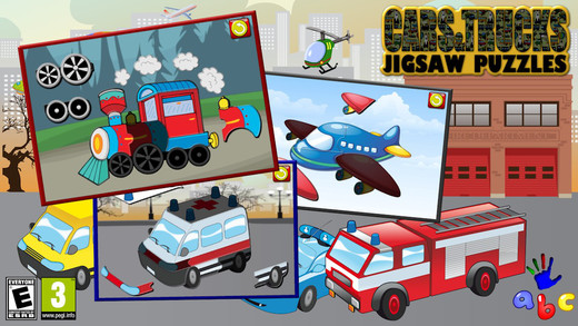 Preschool Car Truck and Engine Jigsaw Puzzle Shapes - learning game teaches site reading and matchin