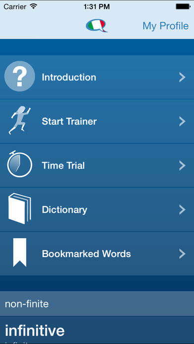Italian Verb Conjugation Trainer by Molto Bene Italian iPhone Screenshot 5