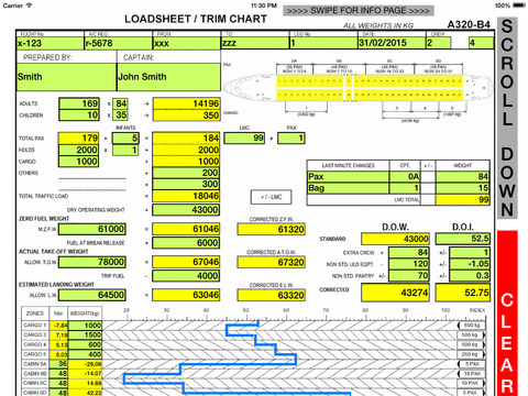 A320 LOADSHEET TRIM and BALANCE ver.B401