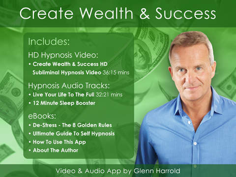 Create Wealth and Success Hypnosis Subliminal Affirmation VideoApp by Glenn Harrold-iPad Version iPad Screenshot 1