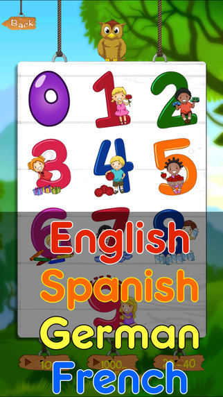 Kids Learn Number By Count To 40 in English Spanish French German language For Preschoolers