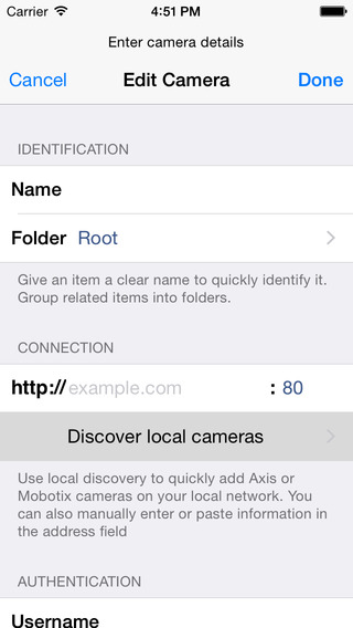 NetcamViewer Mobile for Axis, Mobotix, Panasonic, Sanyo, Sony and other IP Cameras iPhone Screenshot 3