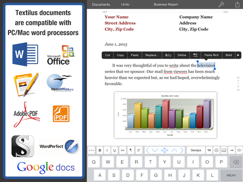 Textilus Document Editor for PDF Microsoft Word and Ink Notes for iPad