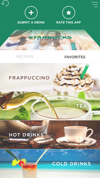 Great recipes for Starbucks Menu Pro version - More than 100 Drink recipes. Share your drink Recipe