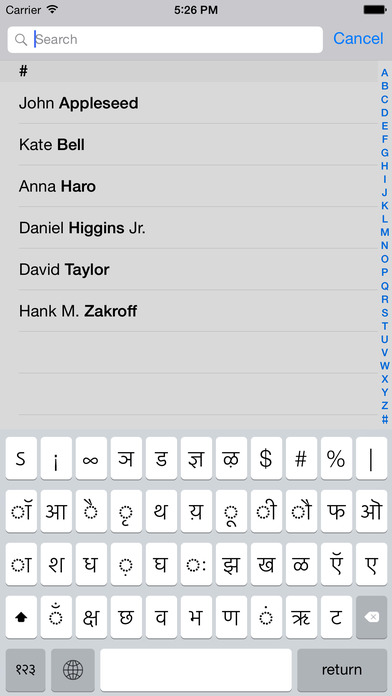 Screenshots of Devanagari keyboard for iOS Turbo for iPhone