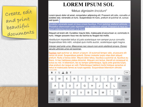 DOCUMENTS 2 FREE (Spreadsheet, Text Edit, Preview, Email, Wi-Fi) iPad Screenshot 2