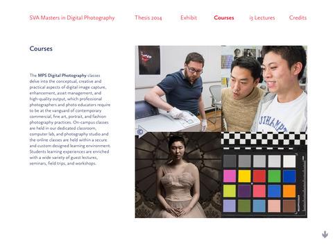 Screenshots for SVA Masters in Digital Photography 2014