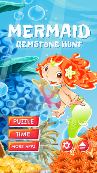 Mermaid Gemstone Hunt - HD - PRO - Connect Matching Diamonds Coral Reef Treasure Puzzle Game