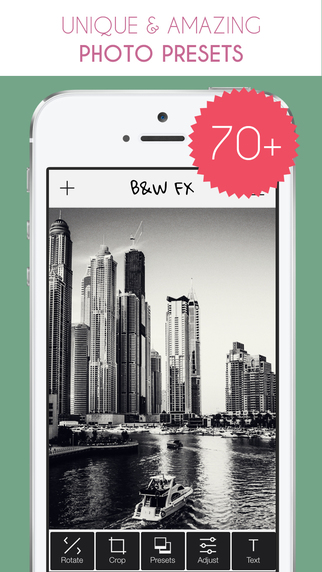 B W FX - Free black and white photo editing texting app