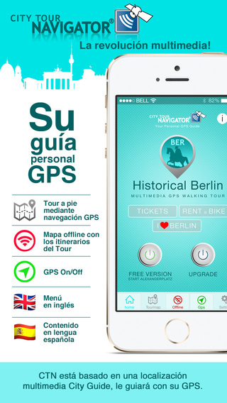 Berlín guía histórico: visita gps multimedia a pie sin costes de roaming con mapa vídeo y audioguía