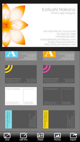 BusinessCardDesigner – 名片制作,创作者,编辑,模板,PDF,AirPrint和电子邮件的功能设计