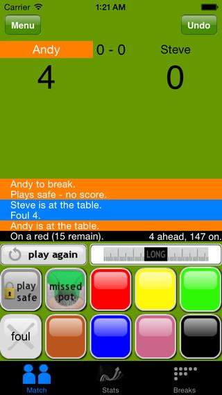 MySnookerStats - Snooker Scoring and Statistics iPhone Screenshot 2