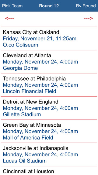 Pro Football Schedule 14