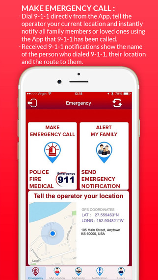 Family TRAK 911: Emergency Alert Call 9-1-1 GPS