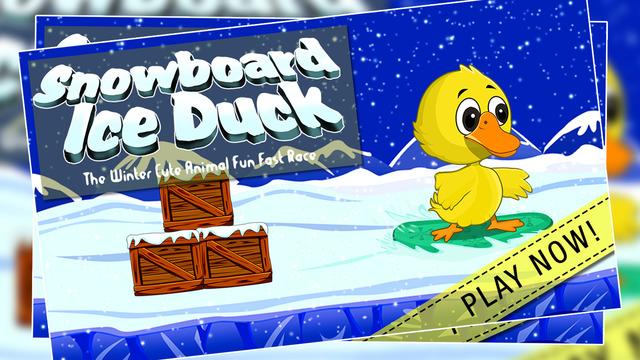 Snowboard Ice Duck : The Winter Cute Animal Fun Fast Race - Gold