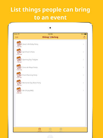 ThingToBring Event and Party Planner screenshot