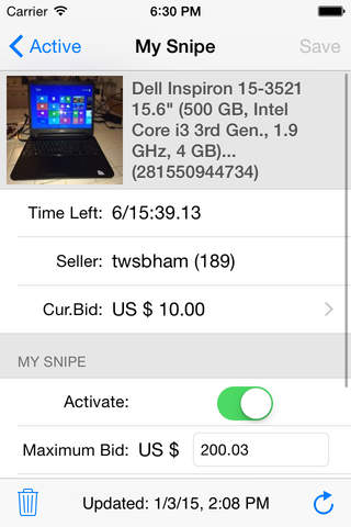Myibidder Auction Sniper PPS screenshot 3