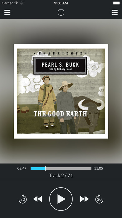 The Good Earth (by Pearl S. Buck) (UNABRIDGED) : Blackstone Audio Apps : Folium enhancedAudio edition iPhone Screenshot 1