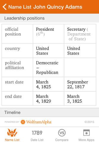 Wolfram US Presidents Reference App screenshot 3