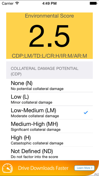 CVSS Calc iPhone Screenshot 2
