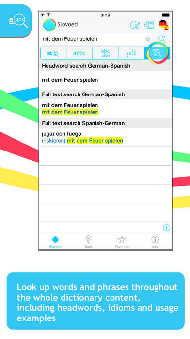 German <-> Spanish Talking SlovoEd Classic Dictionary iPhone Screenshot 2