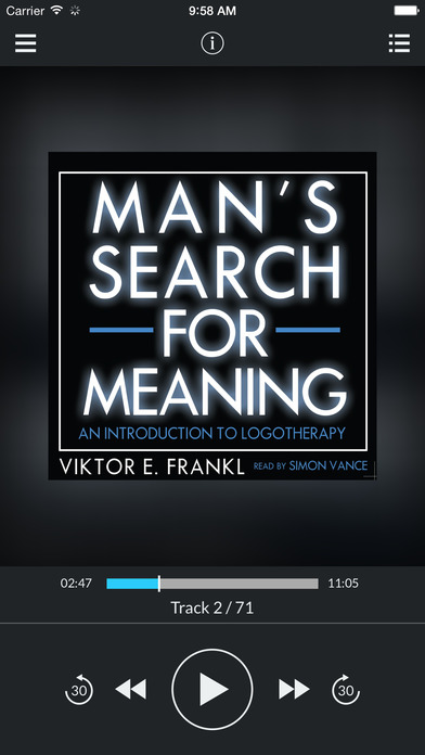 Man's Search for Meaning (by Viktor E. Frankl) (UNABRIDGED AUDIOBOOK) : Blackstone Audio Apps : Folium Edition iPhone Screenshot 1