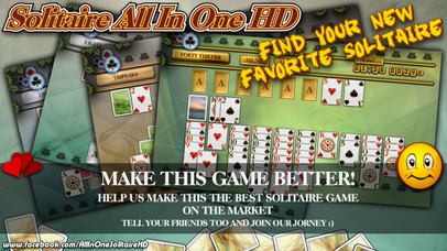 Screenshot 3 Solitaire All In One HD Free — The Classic Card Game Full Deluxe Puzzle Pack ( TriPeaks, Klondike, FreeCell, Pyramid, Spider, etc… )